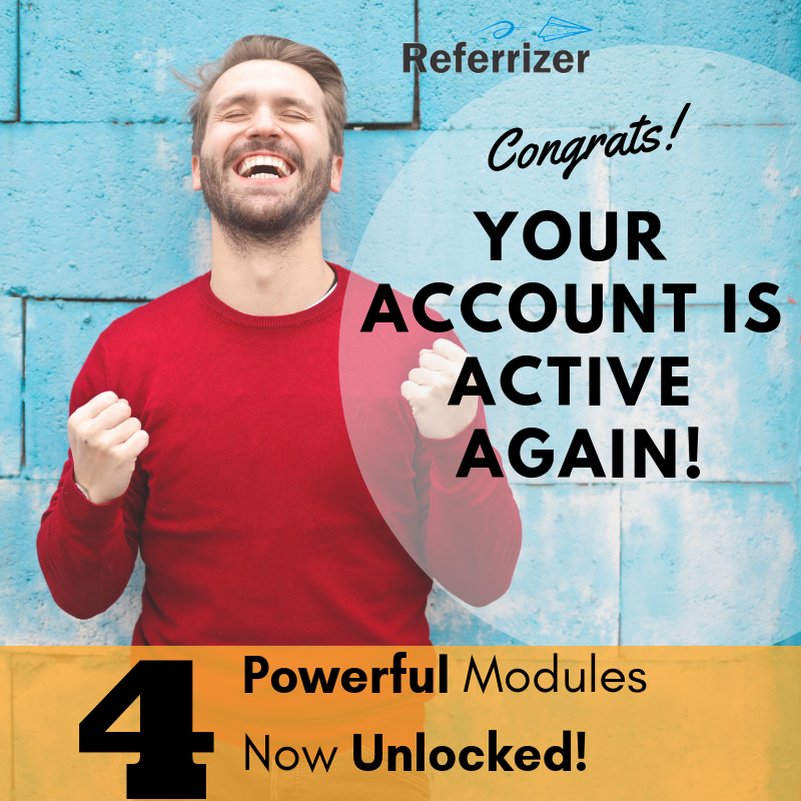 Your Referrizer Account is now FREE OF CHARGE!!!🎉🎊 Image