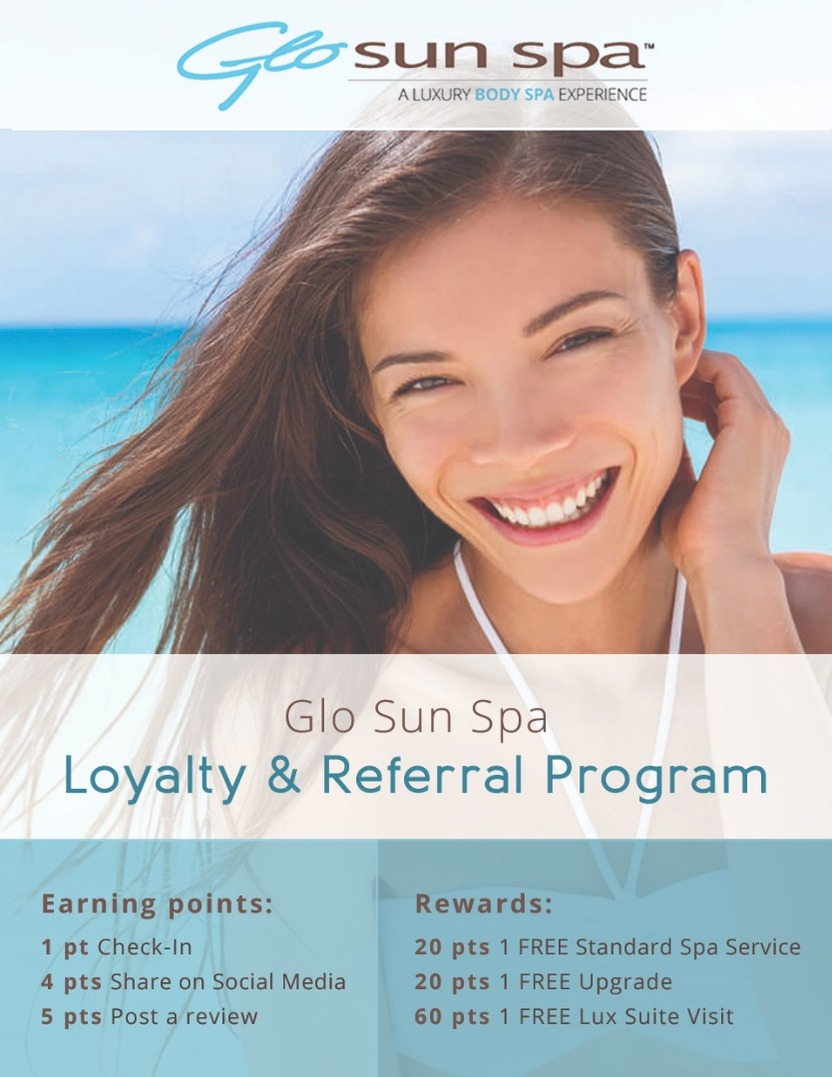 , announcing Glo Sun Spa's NEW Referral & Loyalty Program! 😍🎁 Image